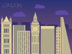 Vector skyline of famous buildings London Piirros
