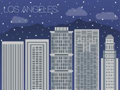 Snow-covered city before the holidays in  Los Angeles Piirros