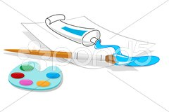 Art plate with tube and brush Stock Illustration