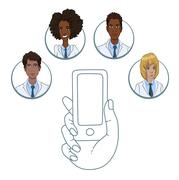 Mobile app for collaboration between medical workers Stock Illustration