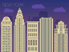 Colorful flat style panorama of the metropolis Stock Illustration