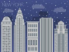 Snow-covered city before the holidays in New York Stock Illustration