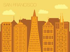 Colorful flat style panorama of the metropolis - San Francisco Piirros