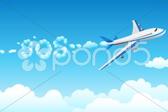 Aeroplane with cloudy sos Stock Illustration