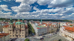 St. Nicholas Church and the Old Town Square timelapse, Prague, Czech Republic Stock Footage