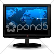 tv with world map - stock photo