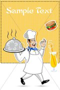 Happy cook with food Stock Illustration