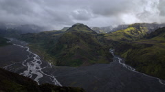 Rugged glacial mountain river valley weather change storm Thorsmork Iceland 4k  Stock Footage