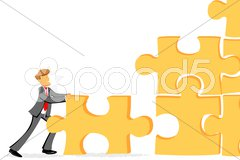 Pan joining jigsaw puzzle Stock Illustration