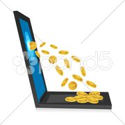 laptop with dollar coins - stock photo