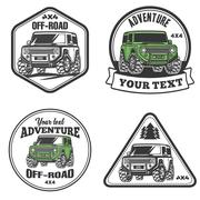 Car off-road 4x4 suv trophy truck logo template set Stock Illustration