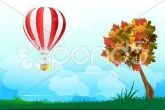 Parachute with tree Stock Illustration