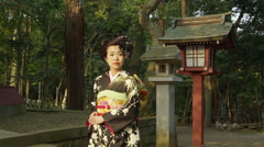 A Japanese Woman in Kimono at a Shrine Stock Footage