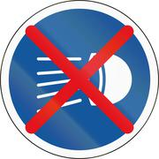 Road sign used in the African country of Botswana - Switch headlamps off Stock Illustration