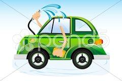 Car washing Stock Illustration
