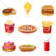 Junk food icons Stock Illustration