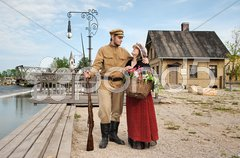 Couple of lady and soldier in retro style picture Stock Photos