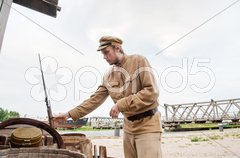 Soldier with  gun in retro style picture Stock Photos