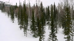 Ski track with chair lift, resort in mountains in slowmotion, Siberia 1920x1080 Stock Footage