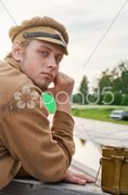 Portrait of soldier in retro style picture Stock Photos