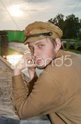 Portrait of soldier in retro style picture - stock photo