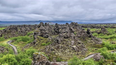 Dimmu Borgir Myvatn northern Iceland volcanic lava towers time lapse 4k Stock Footage