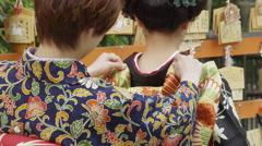 The Bare Nape of a Woman in Kimono Stock Footage