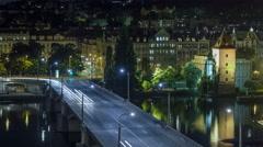 Jirasek Bridge on the Vltava river night timelapse in Prague, Czech Republic Stock Footage