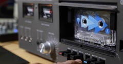Playing Back A Cassette Tape On A Deck - Casette Tape Deck Running Stock Footage