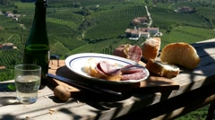 Prosecco country - Traditional snack - Zooming out Stock Footage