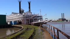 A Mississippi riverboat sits at a dock near New Orleans, Louisiana. Stock Footage