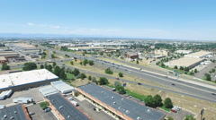 Aerial view of industrial park with highw Stock Footage