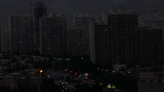 Night view of towers in the modern northern part of Tehran the capital of Iran Stock Footage