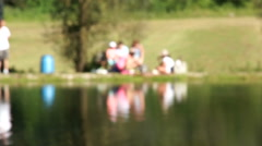 Shot of lake scenic in summer. Blurred nature unfocused background Stock Footage