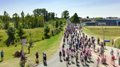 Crowd of people walking on the road, Vierdaagse Nijmegen, 4K time lapse Stock Footage