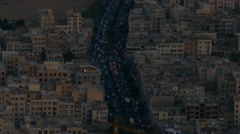 Aerial view of a road in the middle of apartments in Tehran the capital of Iran Stock Footage