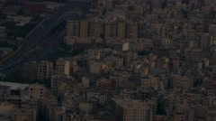 Aerial view - apartments near highway in Tehran capital of Iran during dawn dusk Stock Footage