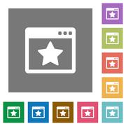 Favorite application square flat icons Stock Illustration