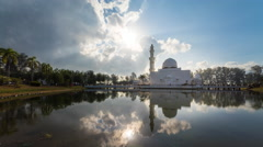 Floating Mosque With Fast Moving Clouds in motion, Timelapse Stock Footage