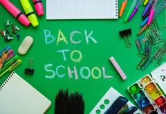 School supplies on blackboard background ready for your design Stock Photos