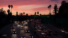 8K Freeway Sunset Time Lapse 01 Pam Trees Los Angeles Stock Footage