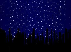 Stary Night Cityscape Stock Illustration