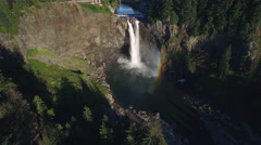 Aerial of Snoqualmie Falls with Rainbow to Reveal Hydroelectric Facility Stock Footage