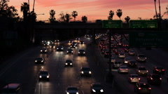 6K Freeway Sunset Time Lapse 03 Pam Trees Los Angeles Stock Footage
