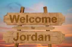 Welcome to Jordan sign on wood background Stock Photos