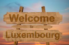 Welcome to Luxembourg sign on wood background Stock Photos
