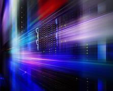Supercomputer disk storage in a series of data center equipment. motion blur Kuvituskuvat