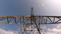 Large high-voltage transmission lines Stock Footage