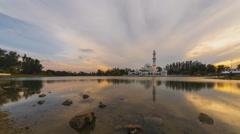 Tengku Tengah Zaharah Mosque, Terengganu. Time Lapse. Pan Motion Stock Footage