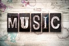 Music Concept Metal Letterpress Type Stock Illustration